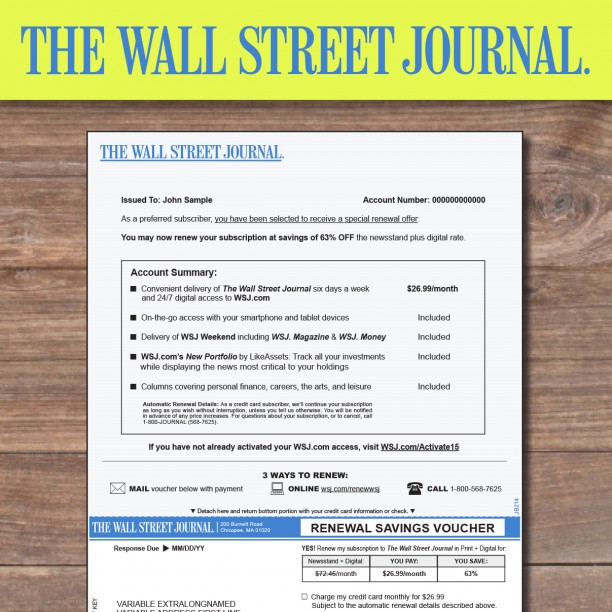 Web Version Only – Wall Street Journal Online Subscription Discount For those WSJ readers that are on the move constantly, then perhaps the WSJ Online Discount offer and deal is the best for you. This is the best and cheapest WSJ Online Subscription Discount that you will find anywhere online and gives you exclusive access to tiospecicin.gq including all the available tools, archives, commentary and content.