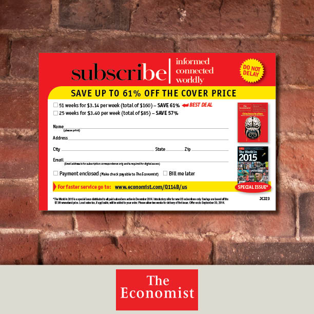 The Economist subscription materials | AdSpace Communications